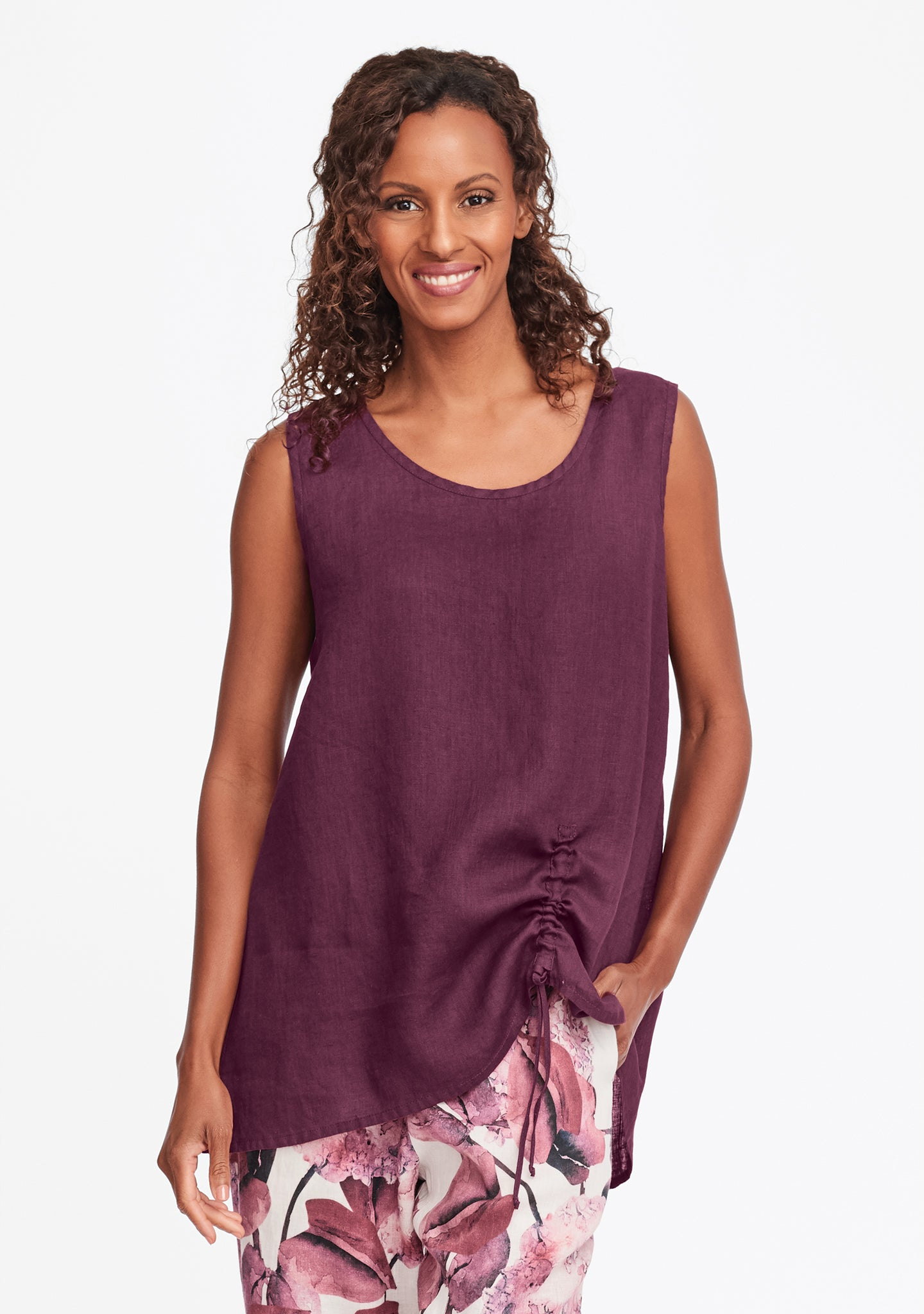 ruched tank red