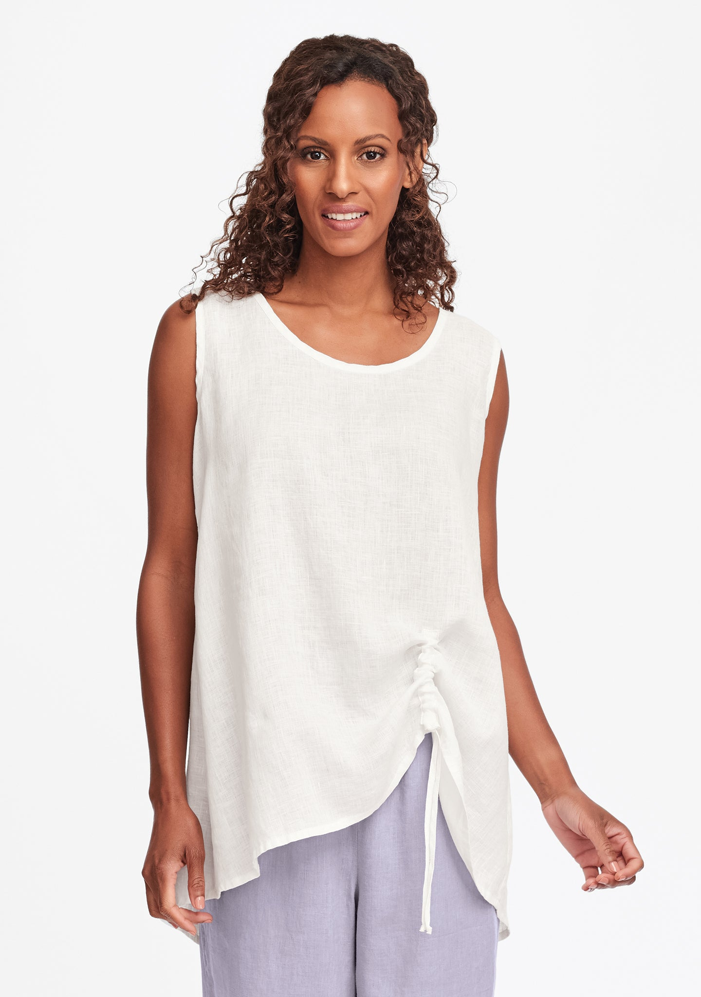 ruched tank linen tank top white