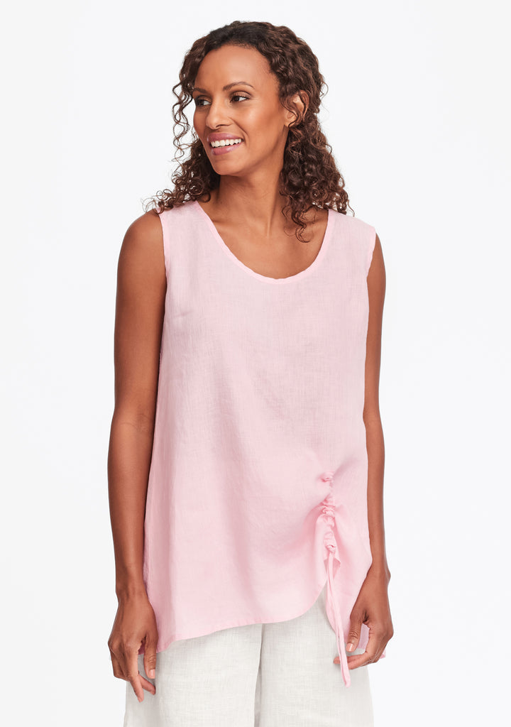 ruched tank linen tank top pink