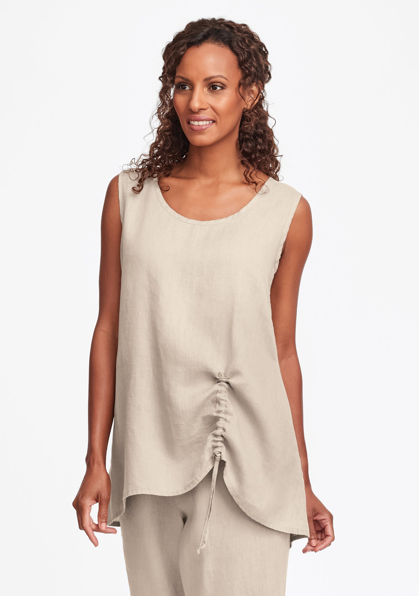 ruched tank linen tank top natural