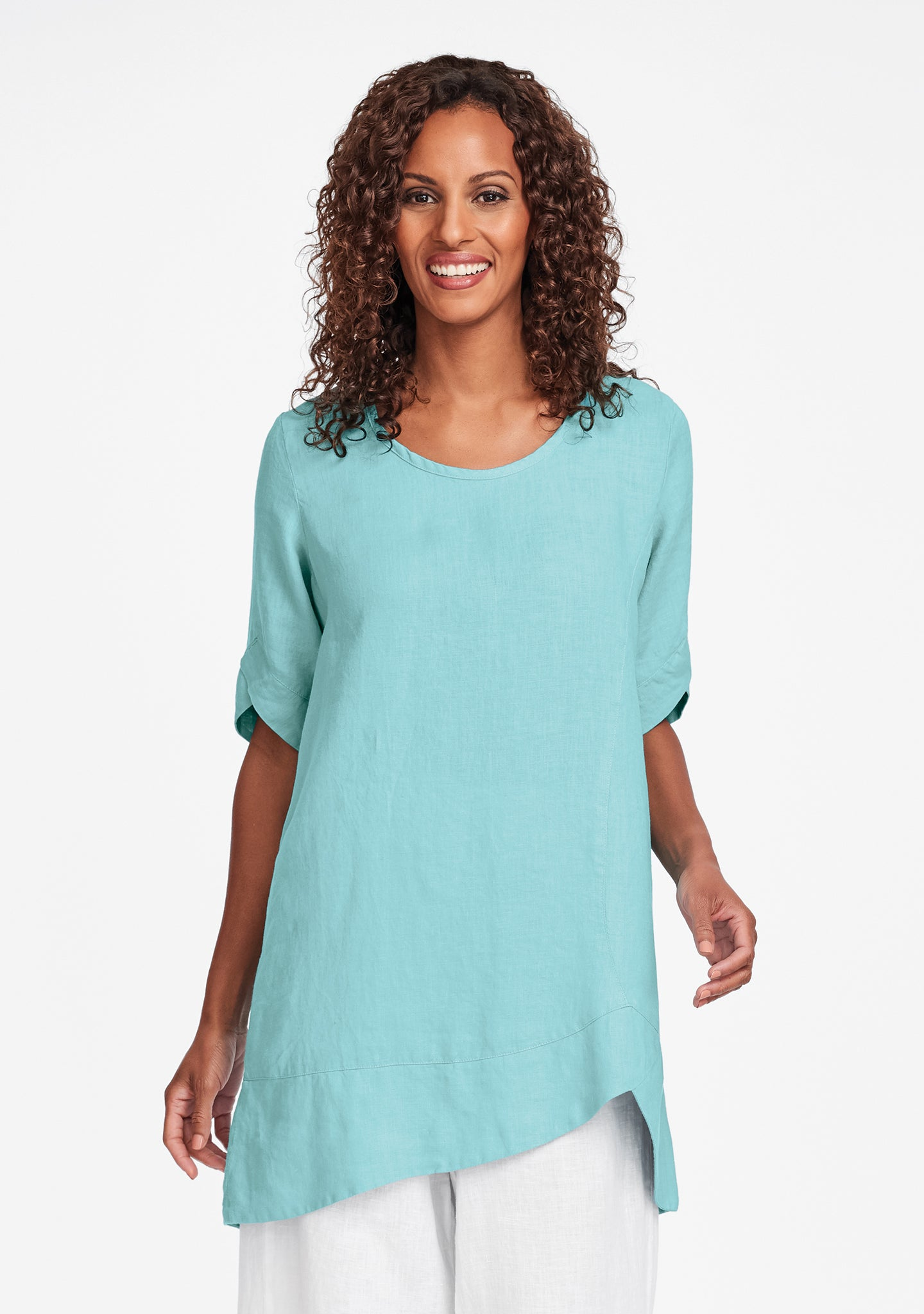 scallop tunic linen shirt blue