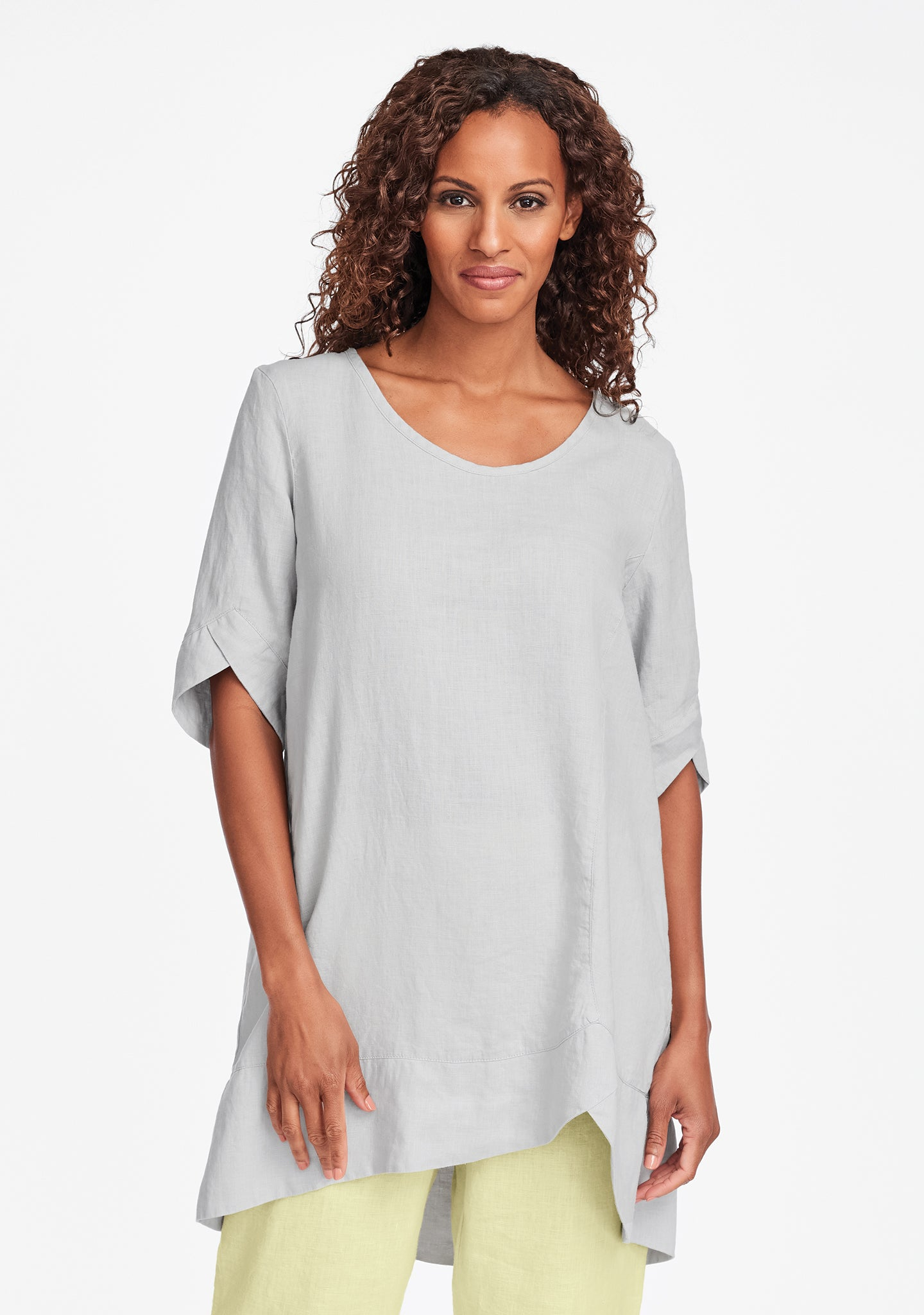 scallop tunic linen shirt grey