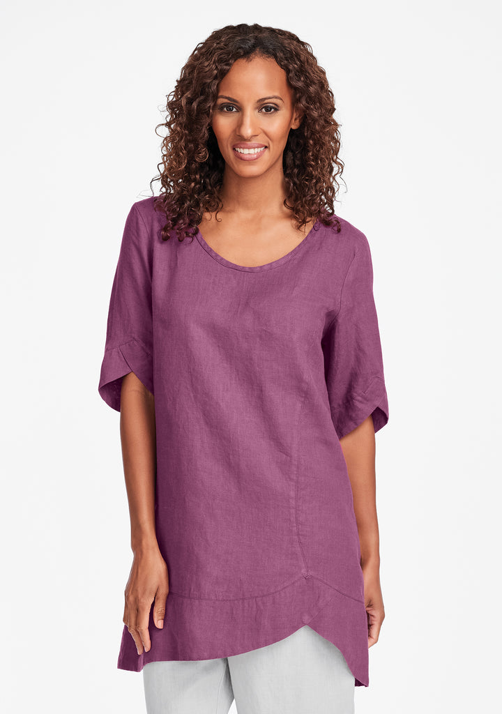 scallop tunic linen shirt purple