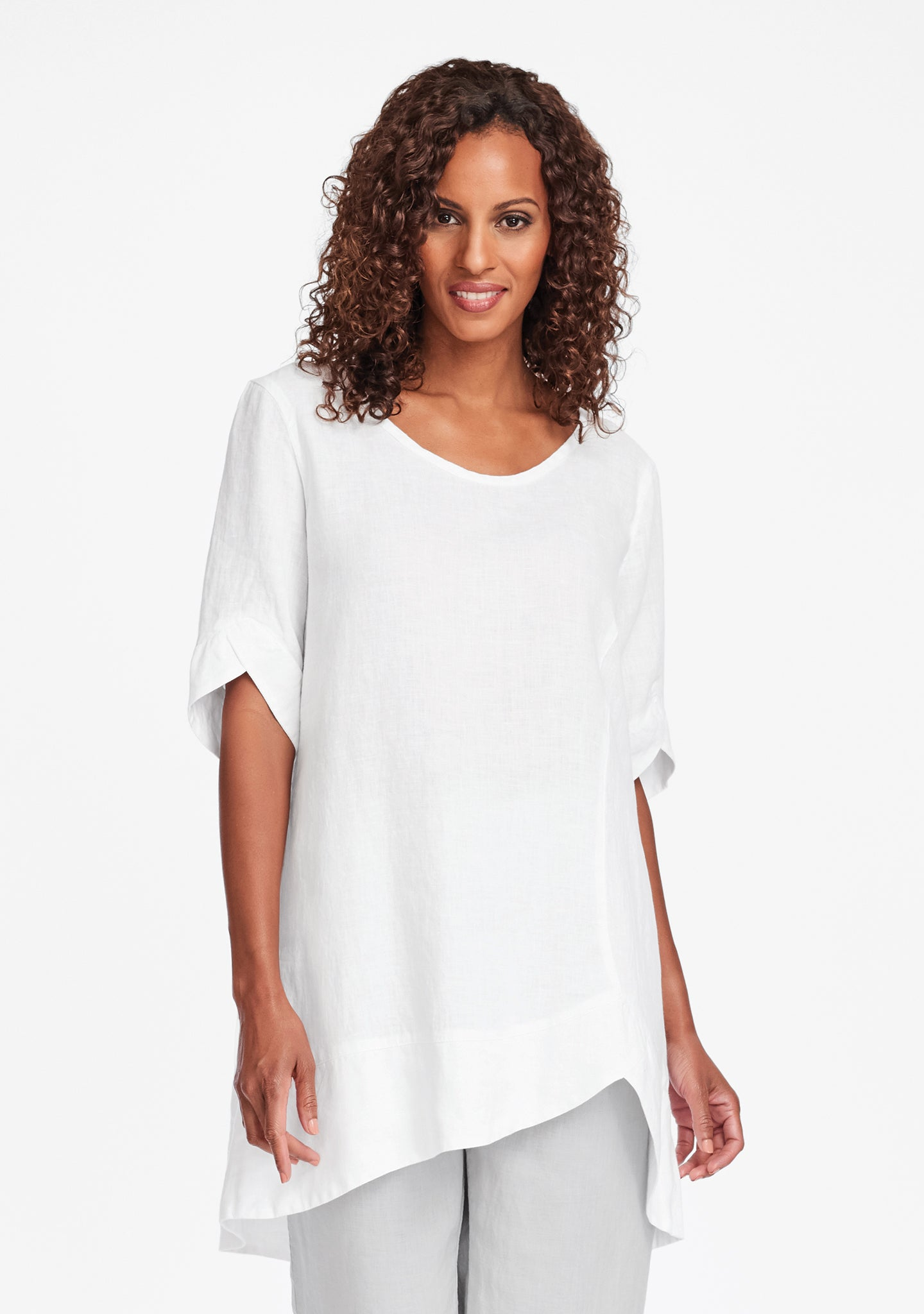 scallop tunic linen shirt white