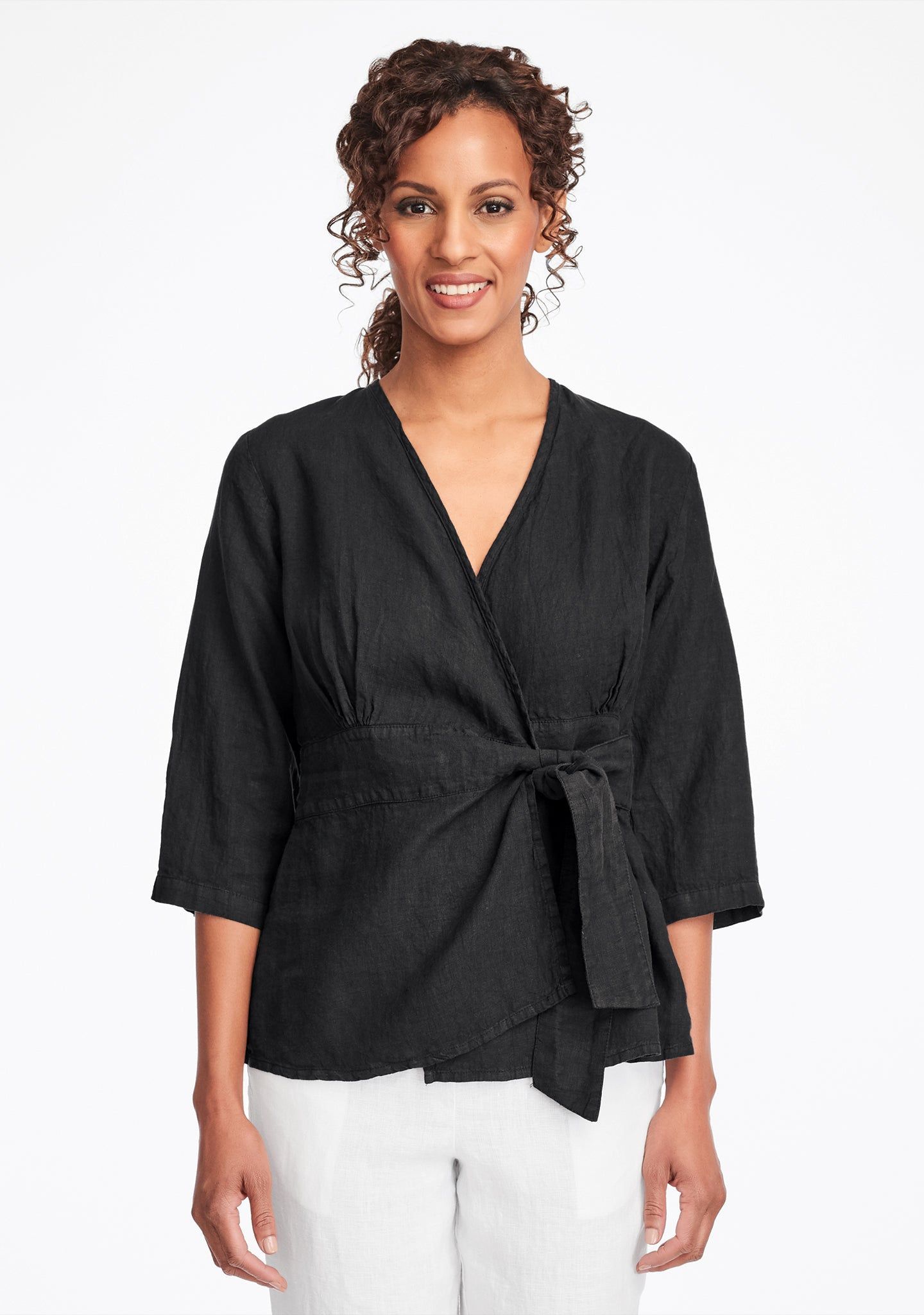 secure blouse linen blouse black