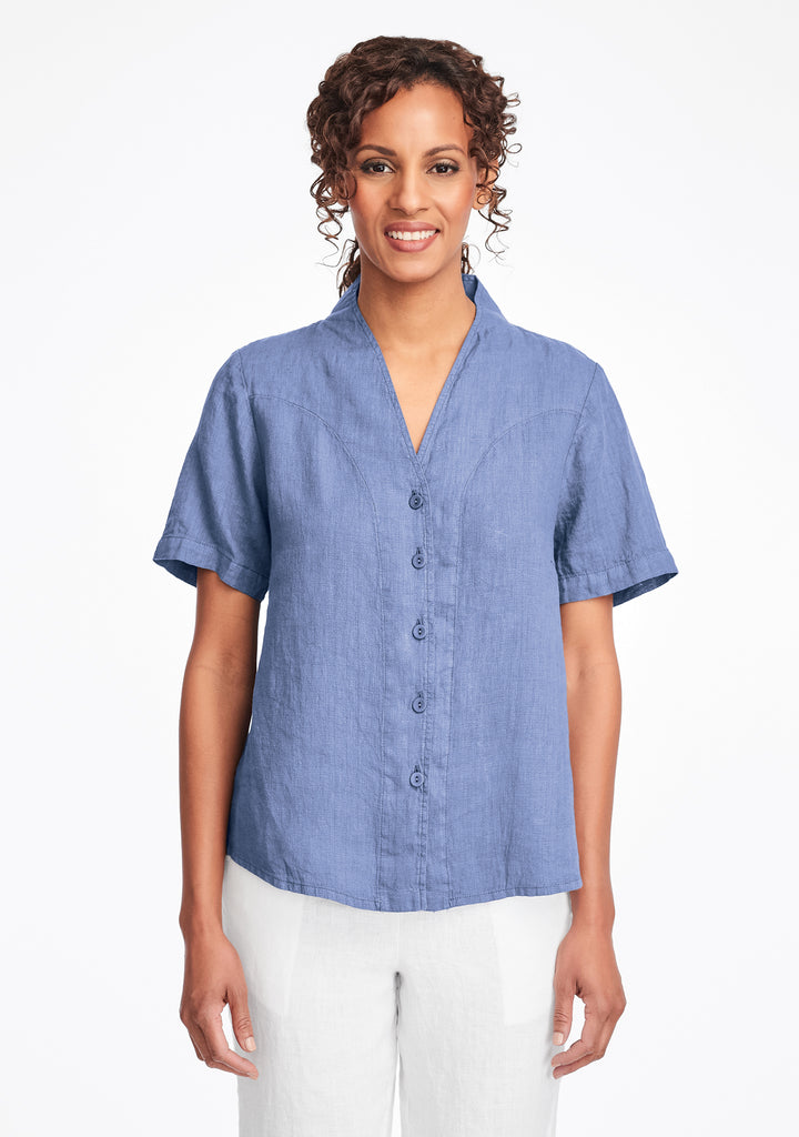 selected version linen blouse blue
