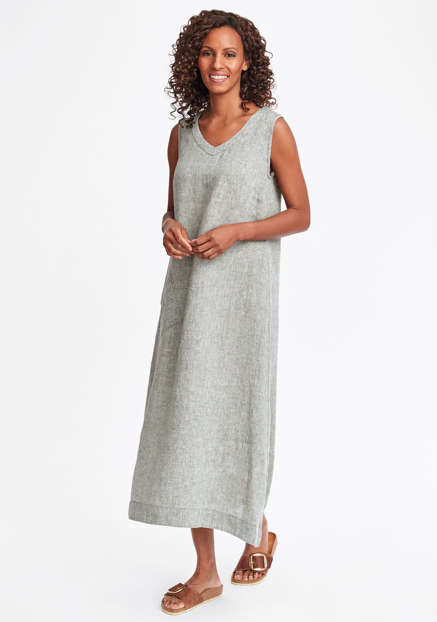 serenity now linen maxi dress green