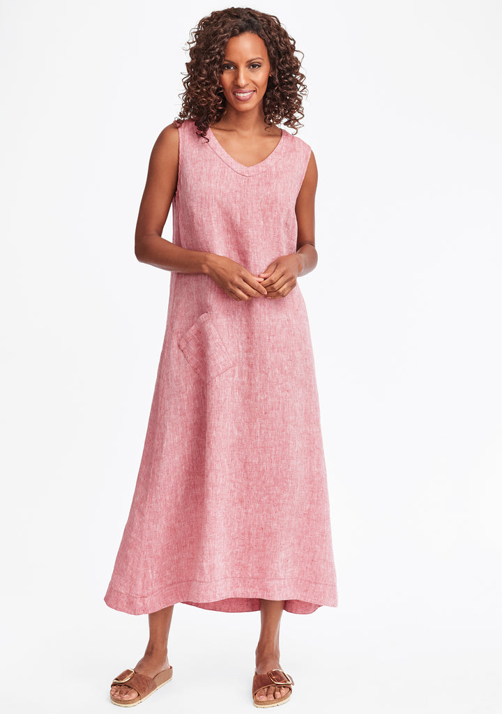 serenity now linen maxi dress red