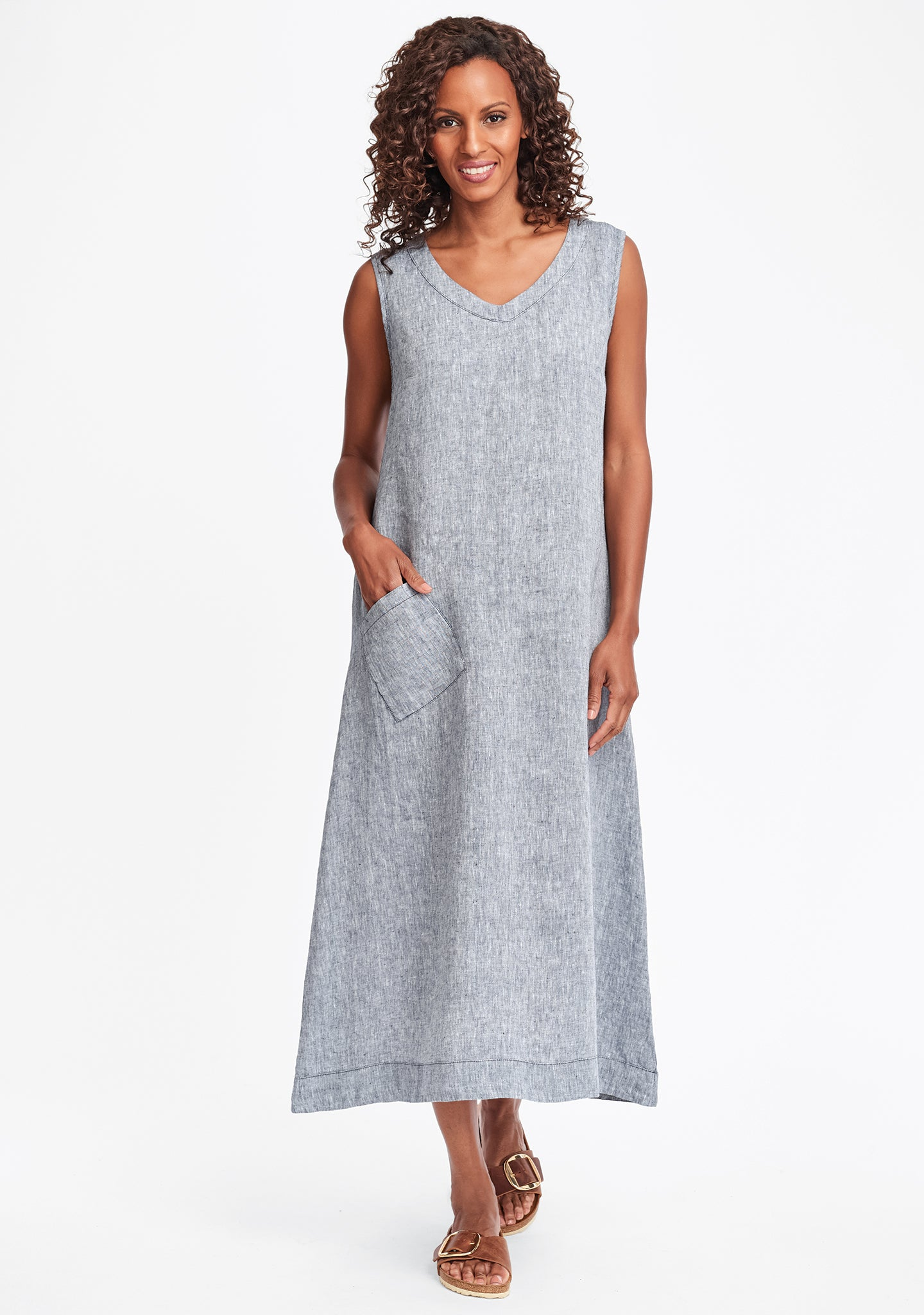serenity now linen maxi dress blue