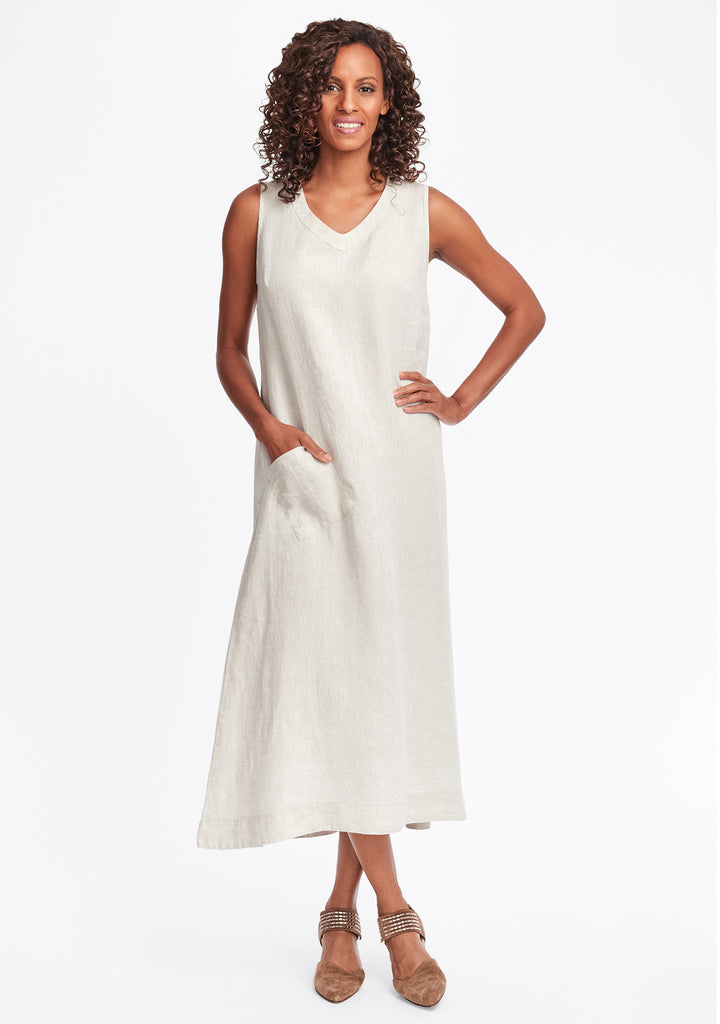 serenity now linen maxi dress natural