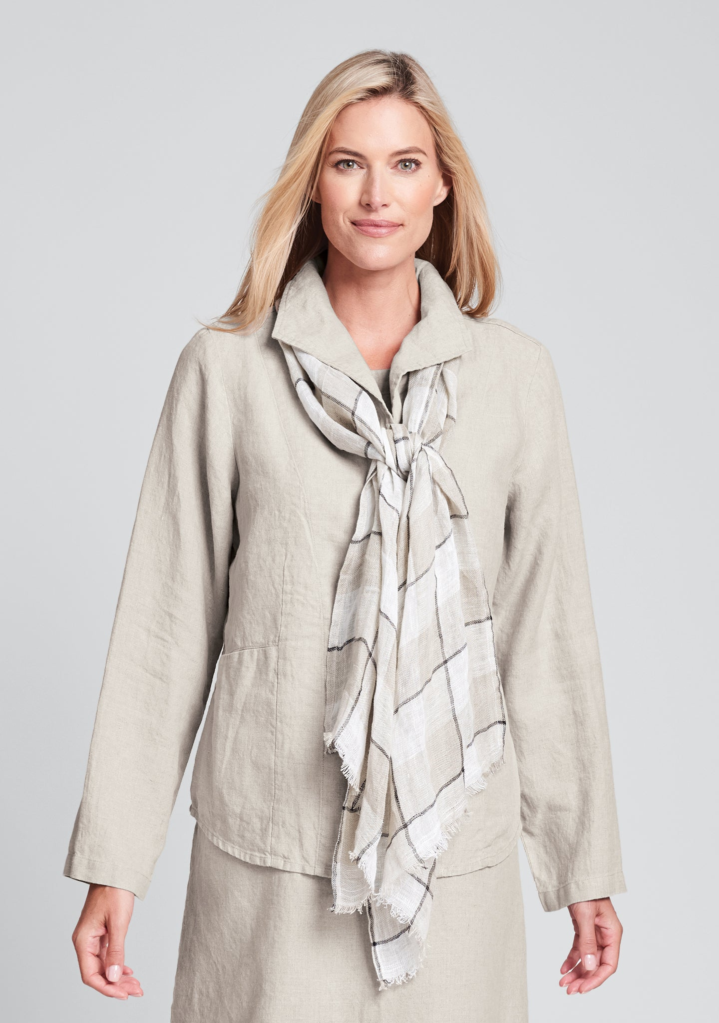 shapely caper linen jacket natural