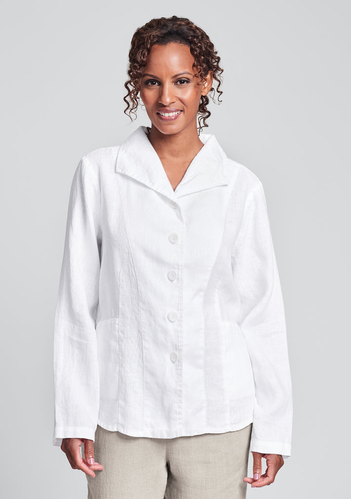 shapely caper linen jacket white
