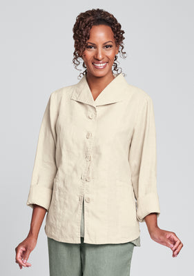 shapely caper linen jacket yellow