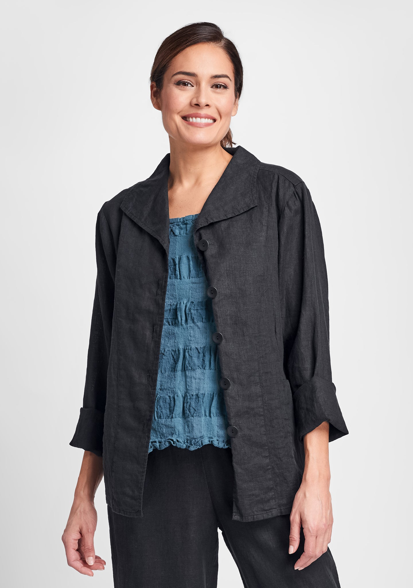 shapely caper linen jacket black