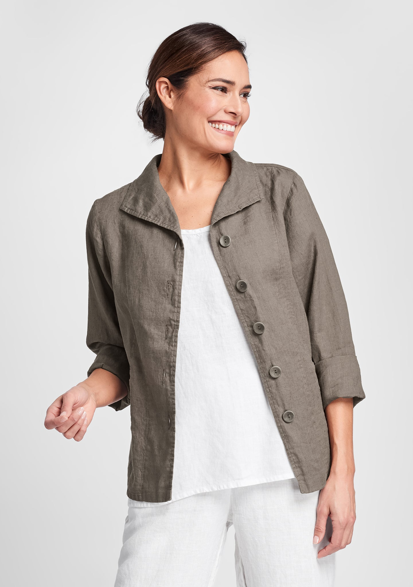 shapely caper linen jacket brown