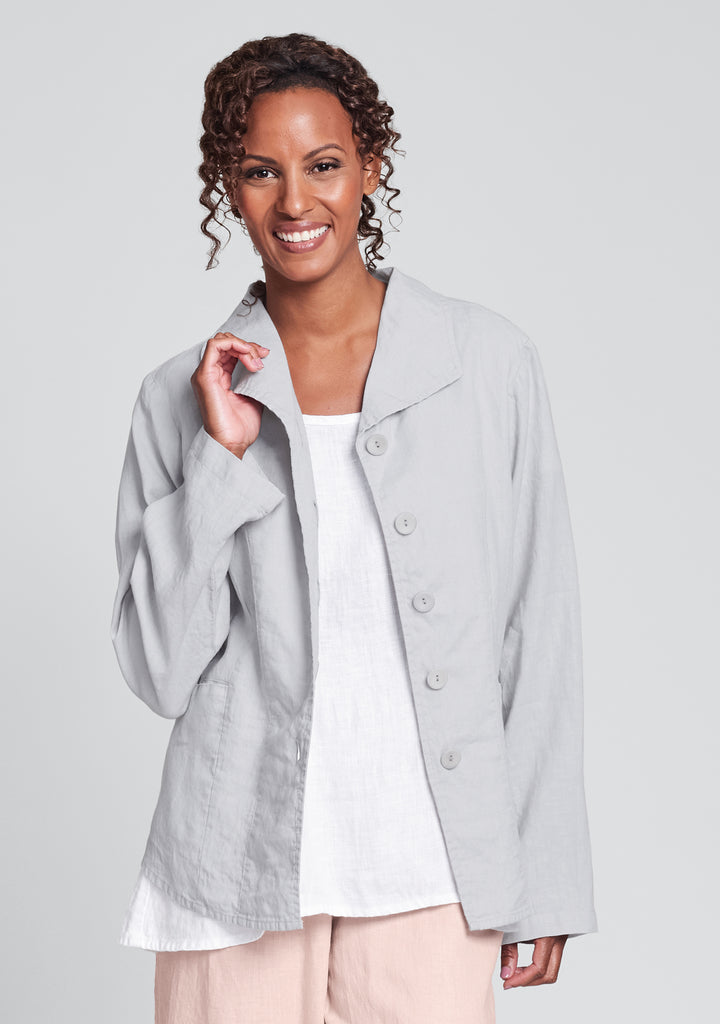 shapely caper linen jacket grey