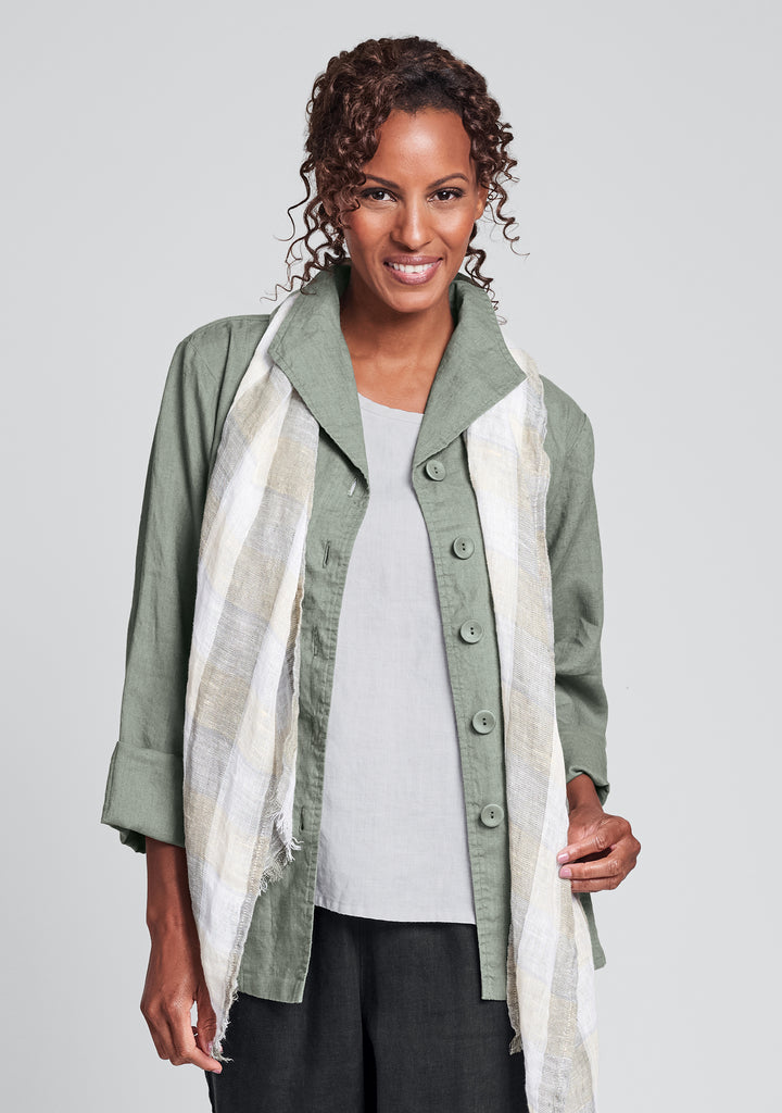 shapely caper linen jacket green