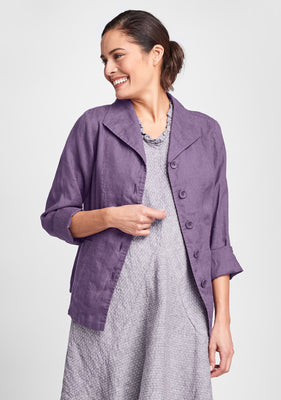 shapely caper linen jacket purple