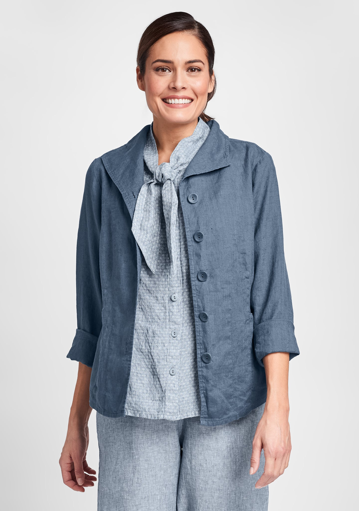 shapely caper linen jacket blue