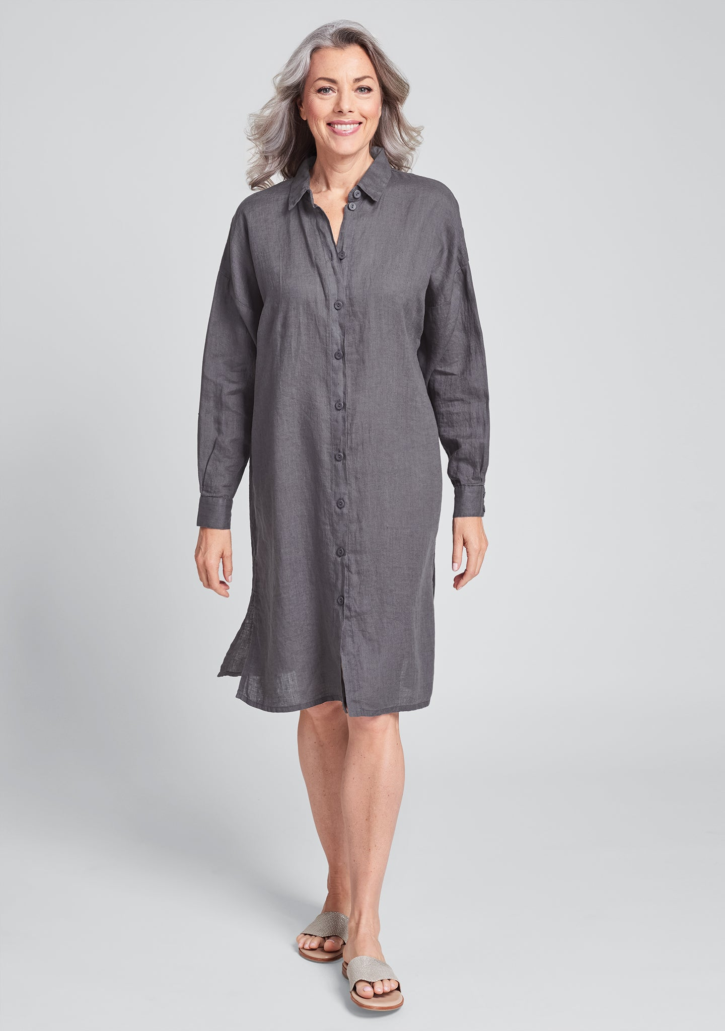 shirtdress linen shirt dress grey
