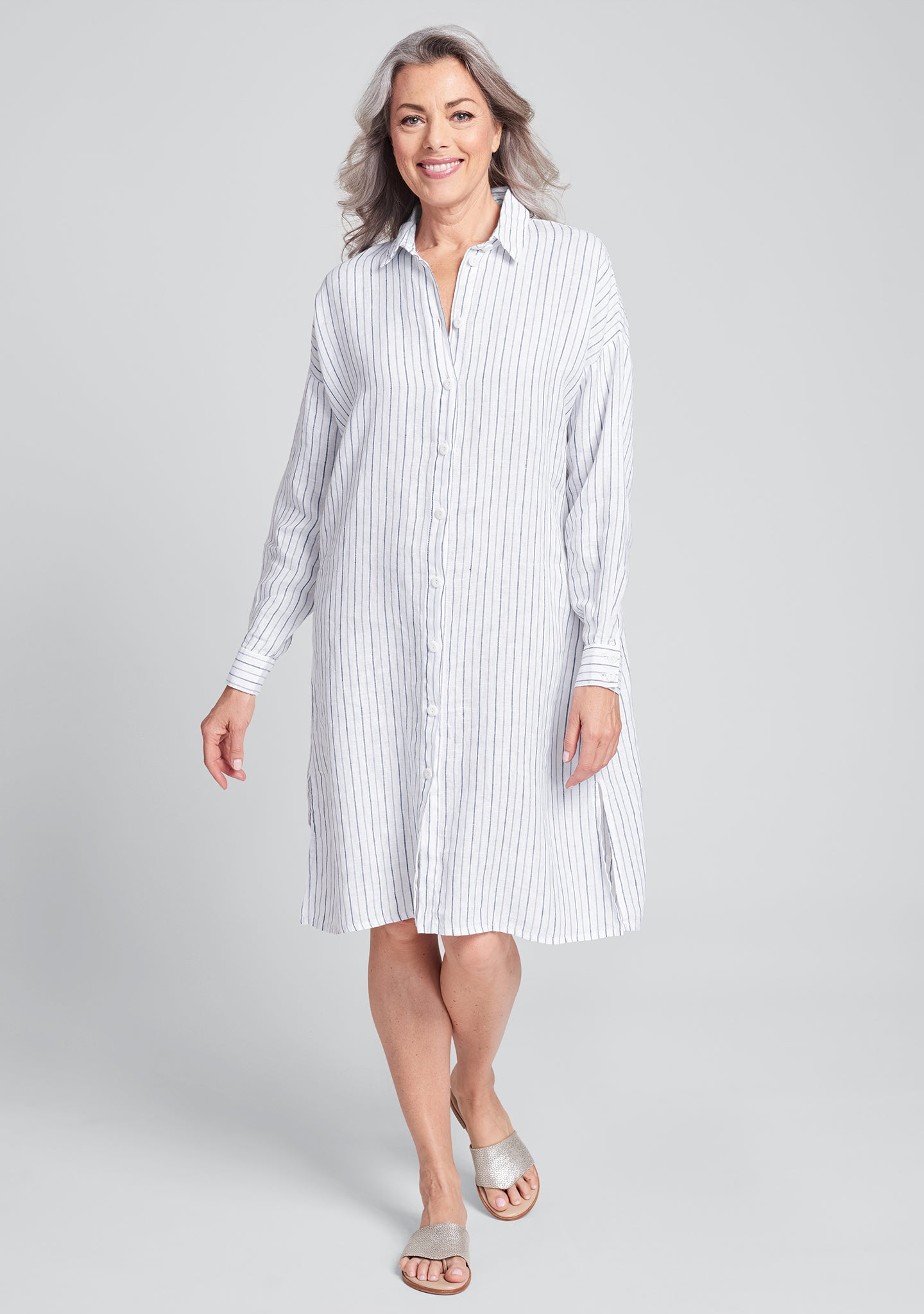 shirtdress linen shirt dress blue
