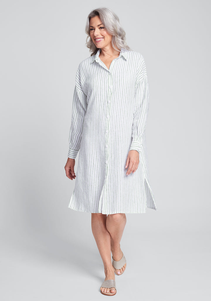 shirtdress linen shirt dress green