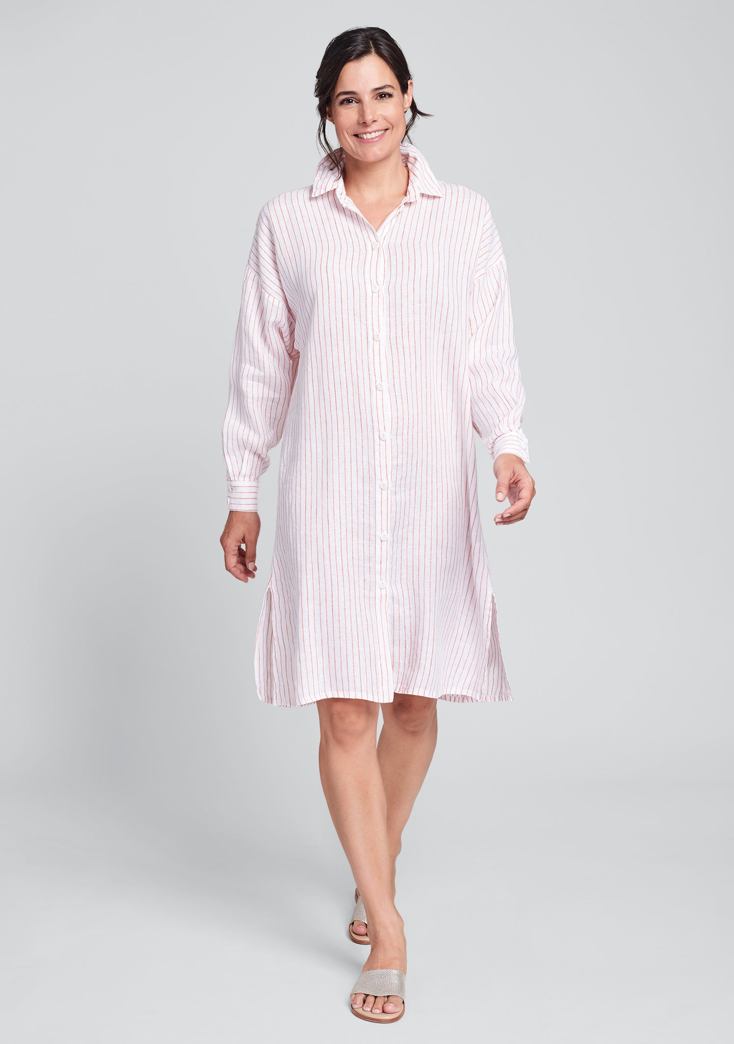 shirtdress linen shirt dress red