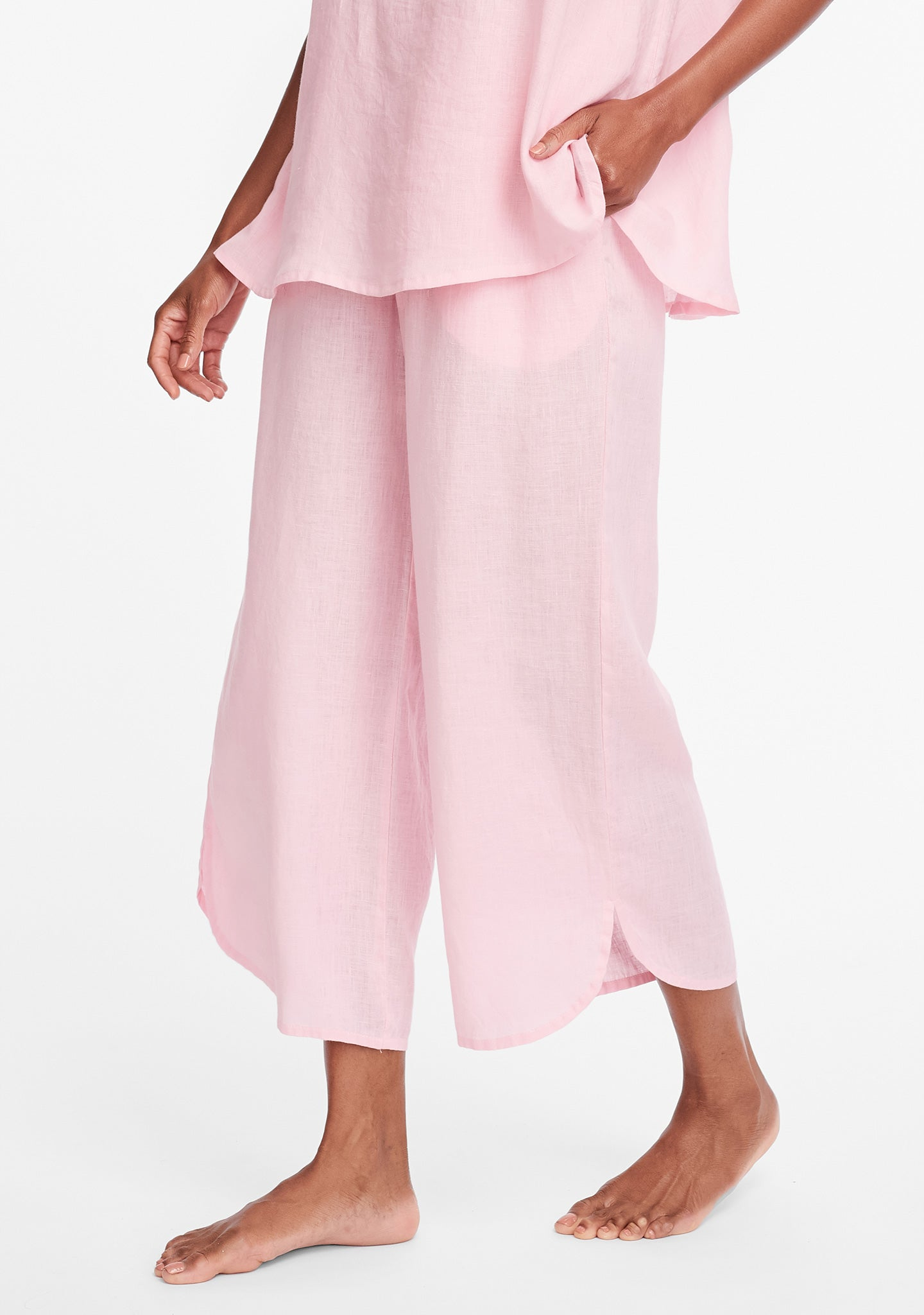 shirttail flood linen pants with elastic waist pink