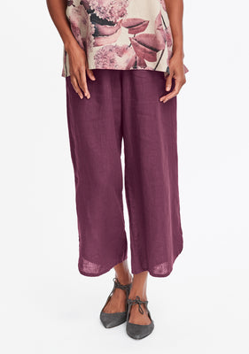 shirttail flood linen pants with elastic waist red