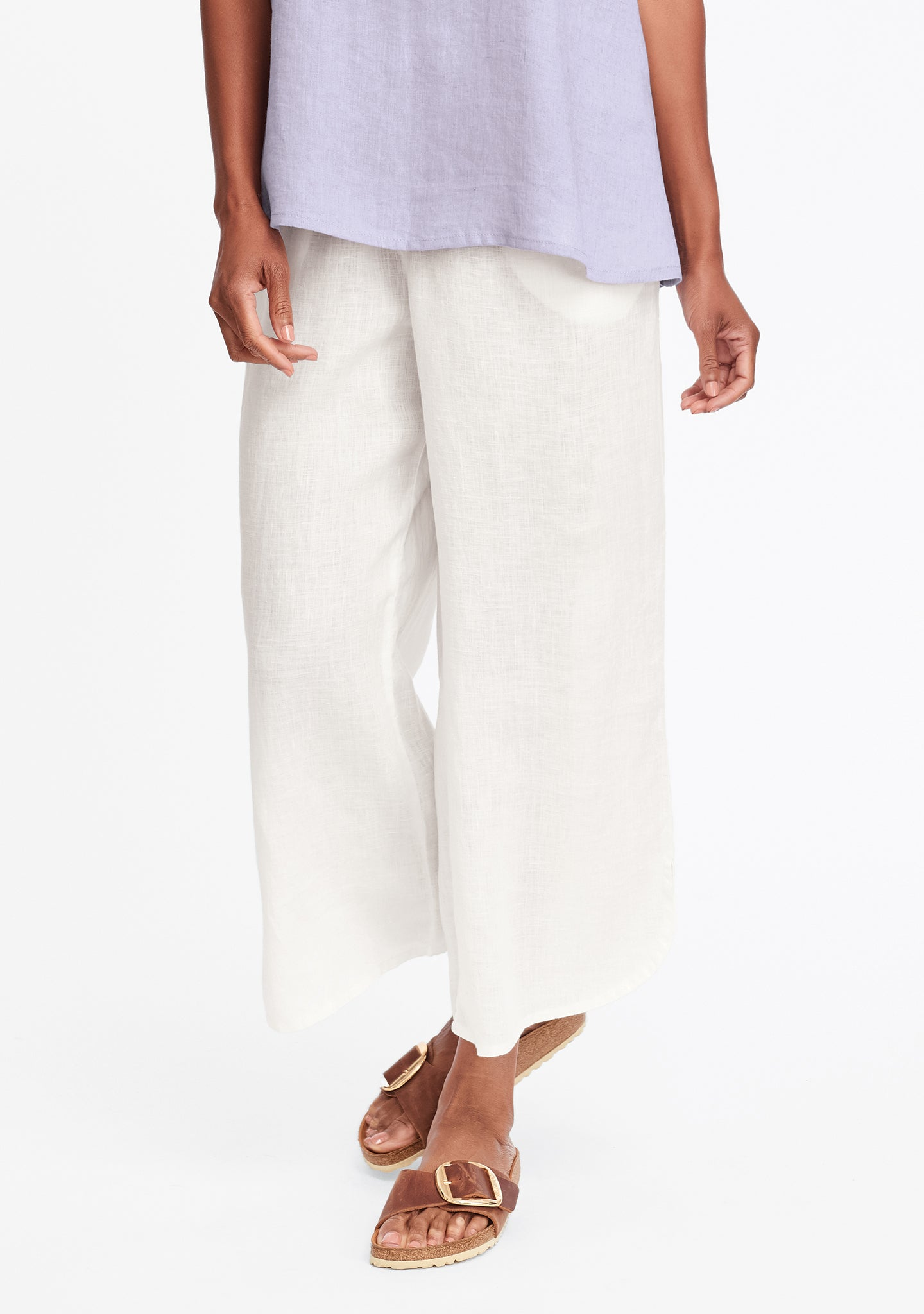 shirttail flood linen pants with elastic waist white