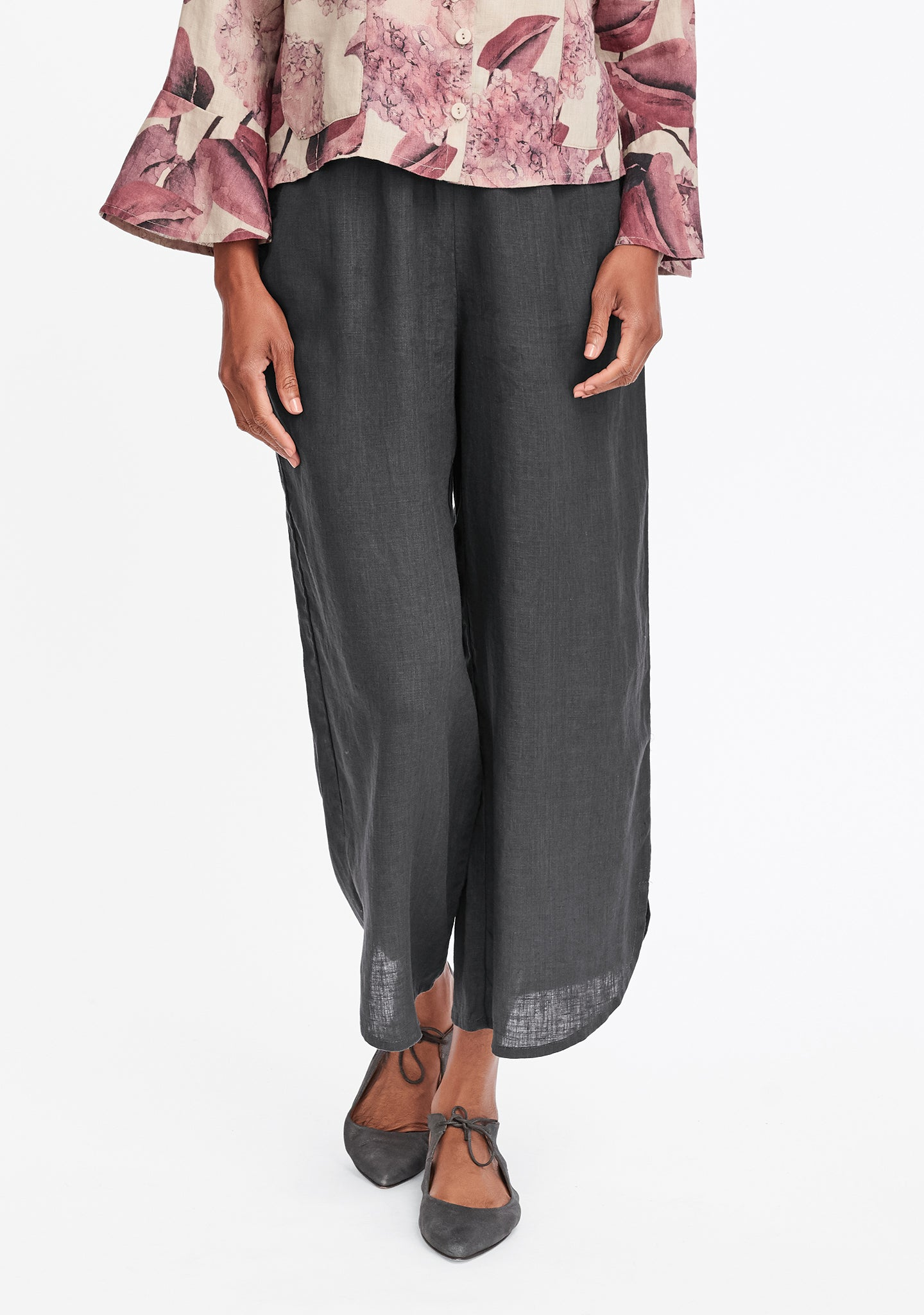 shirttail flood linen pants with elastic waist grey