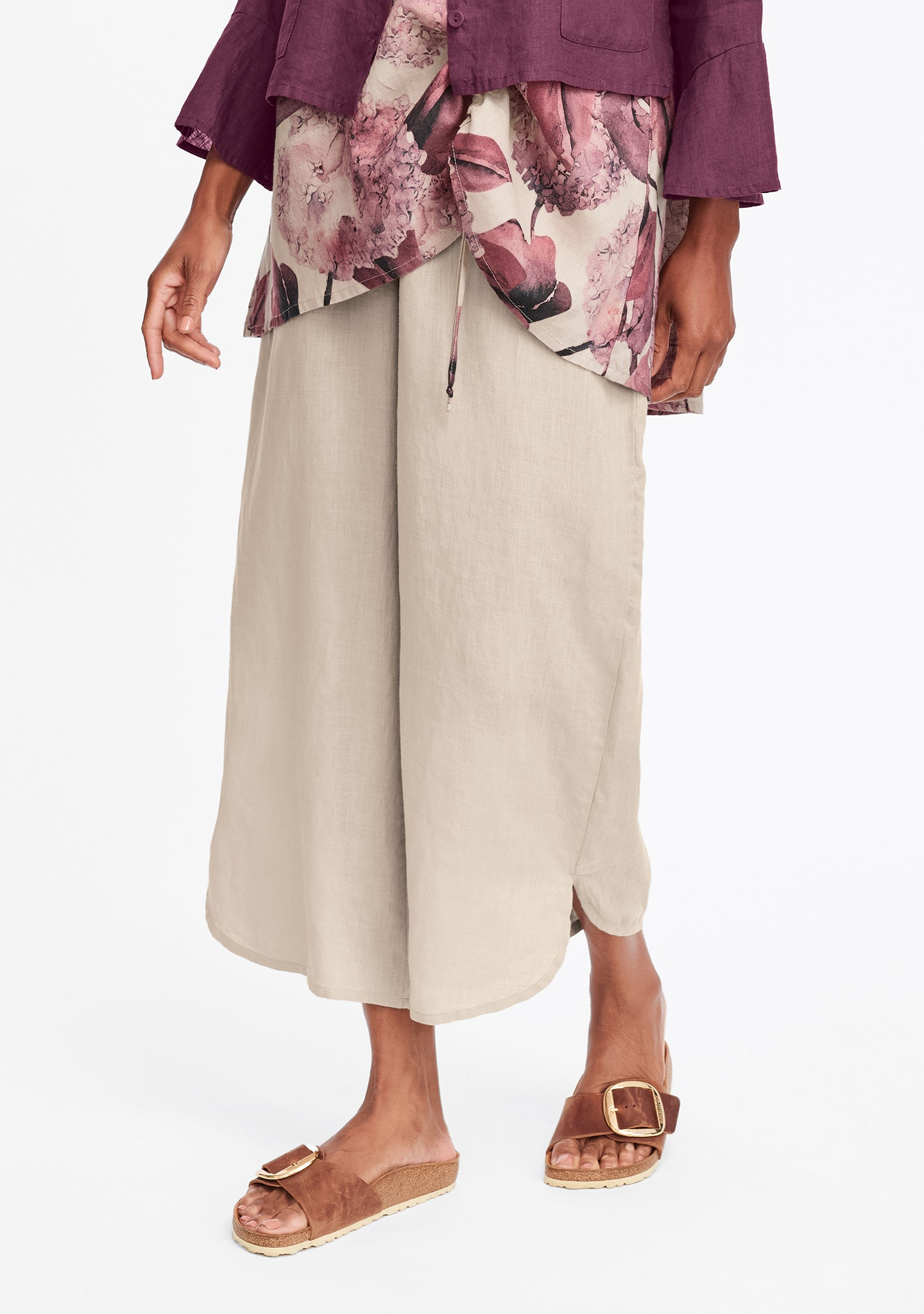 shirttail flood linen pants with elastic waist natural