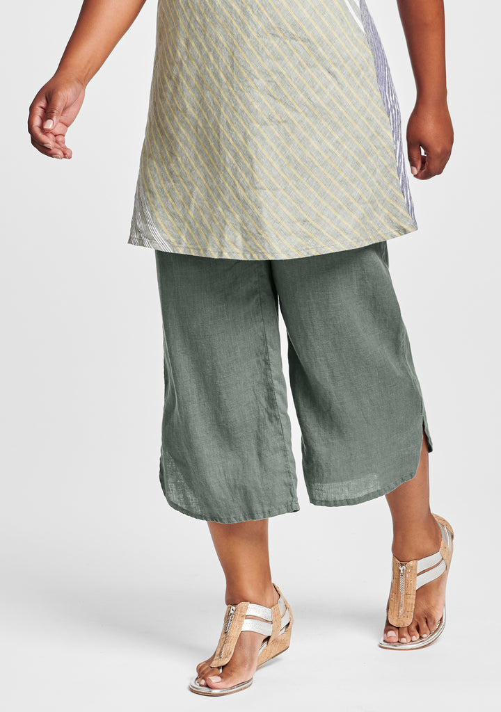 shirttail flood linen pants with elastic waist green
