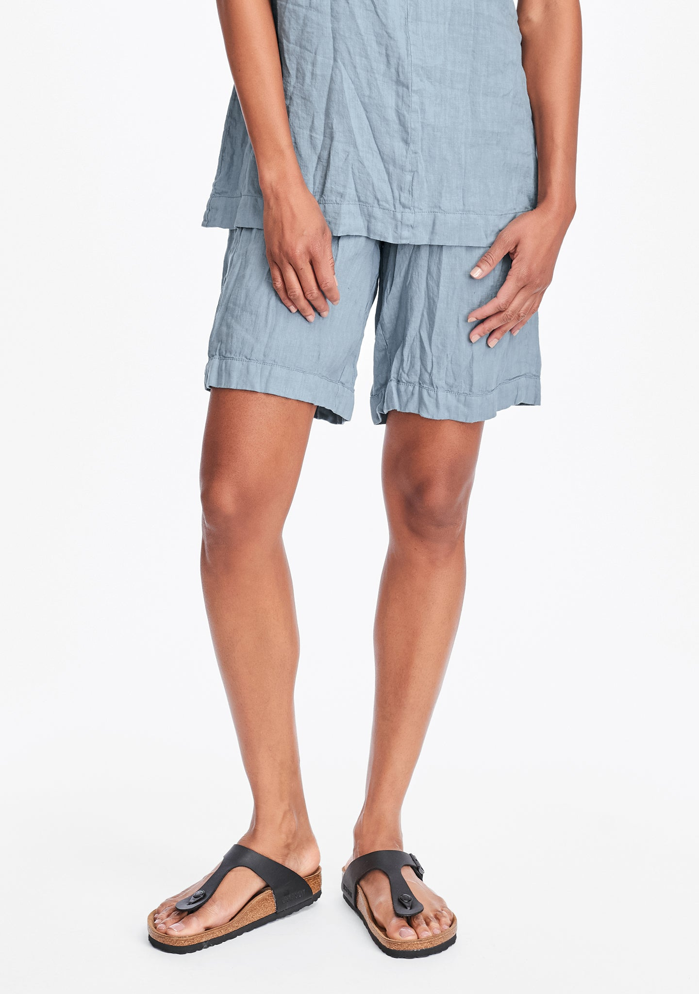 shorty linen shorts blue