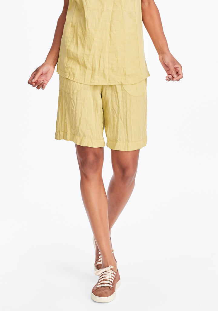 shorty linen shorts yellow