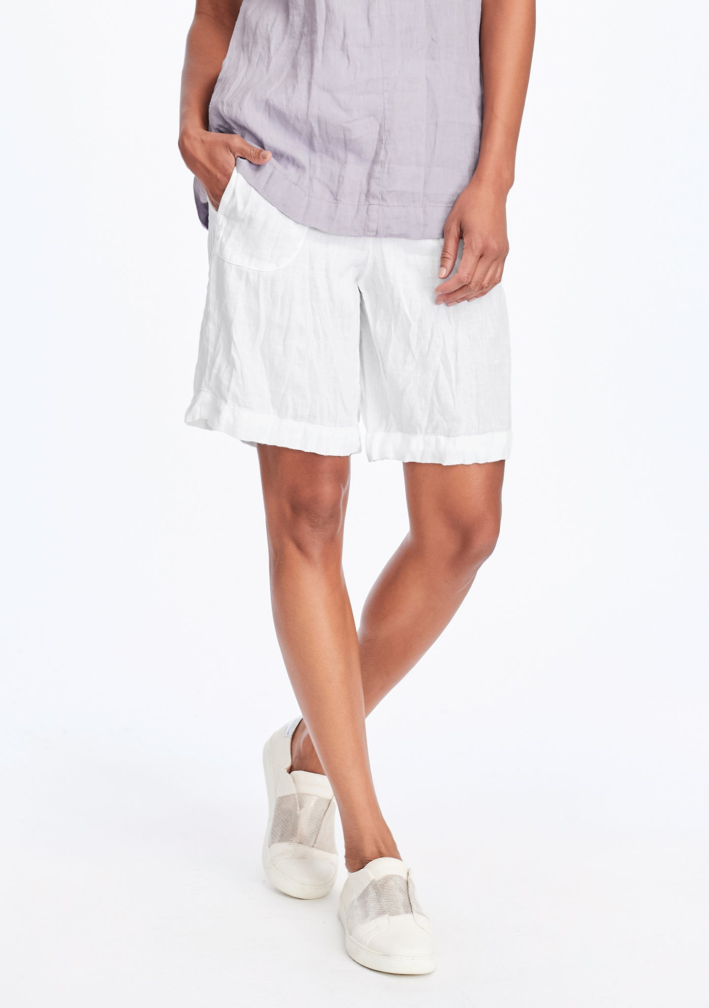 shorty linen shorts white