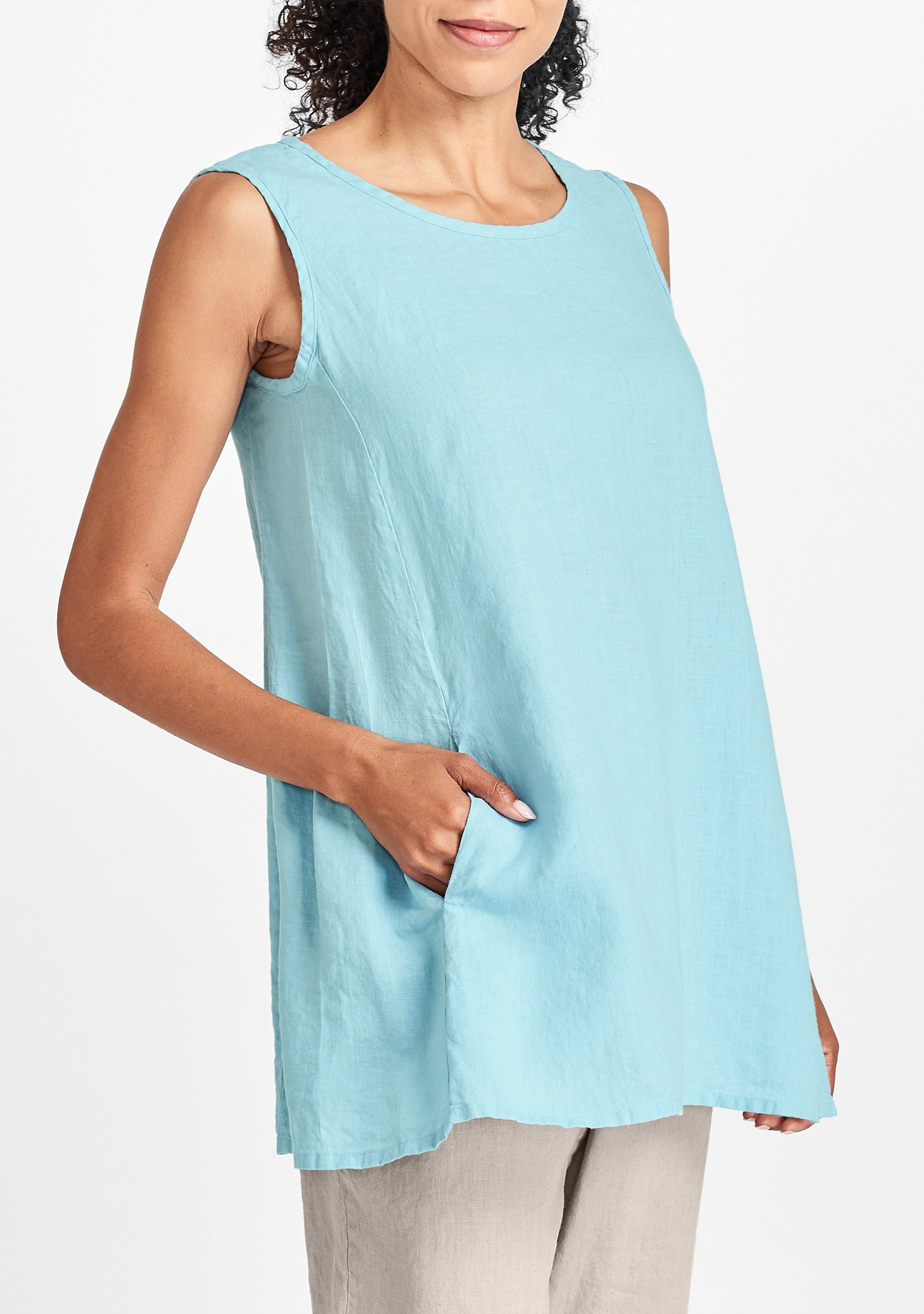 side pocket tunic blue