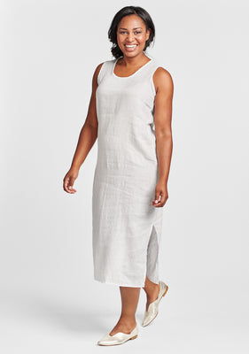 sideslit slipster linen maxi dress white