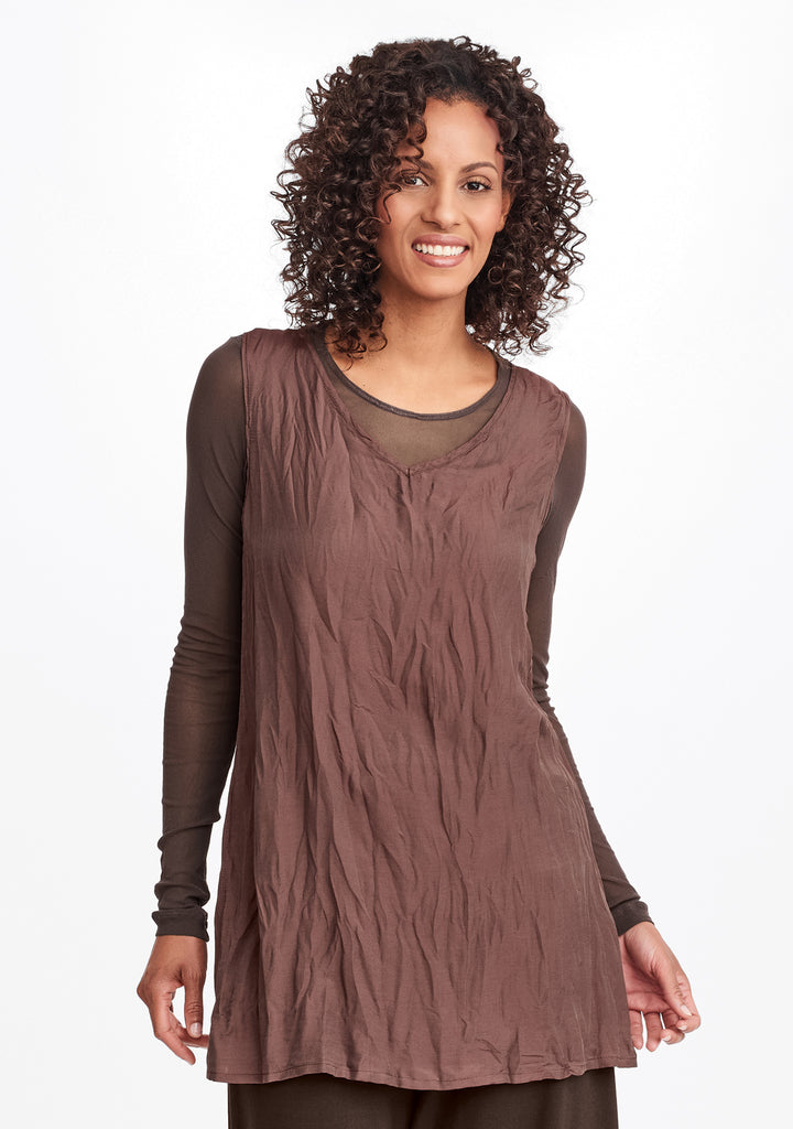 silky v-tunic brown