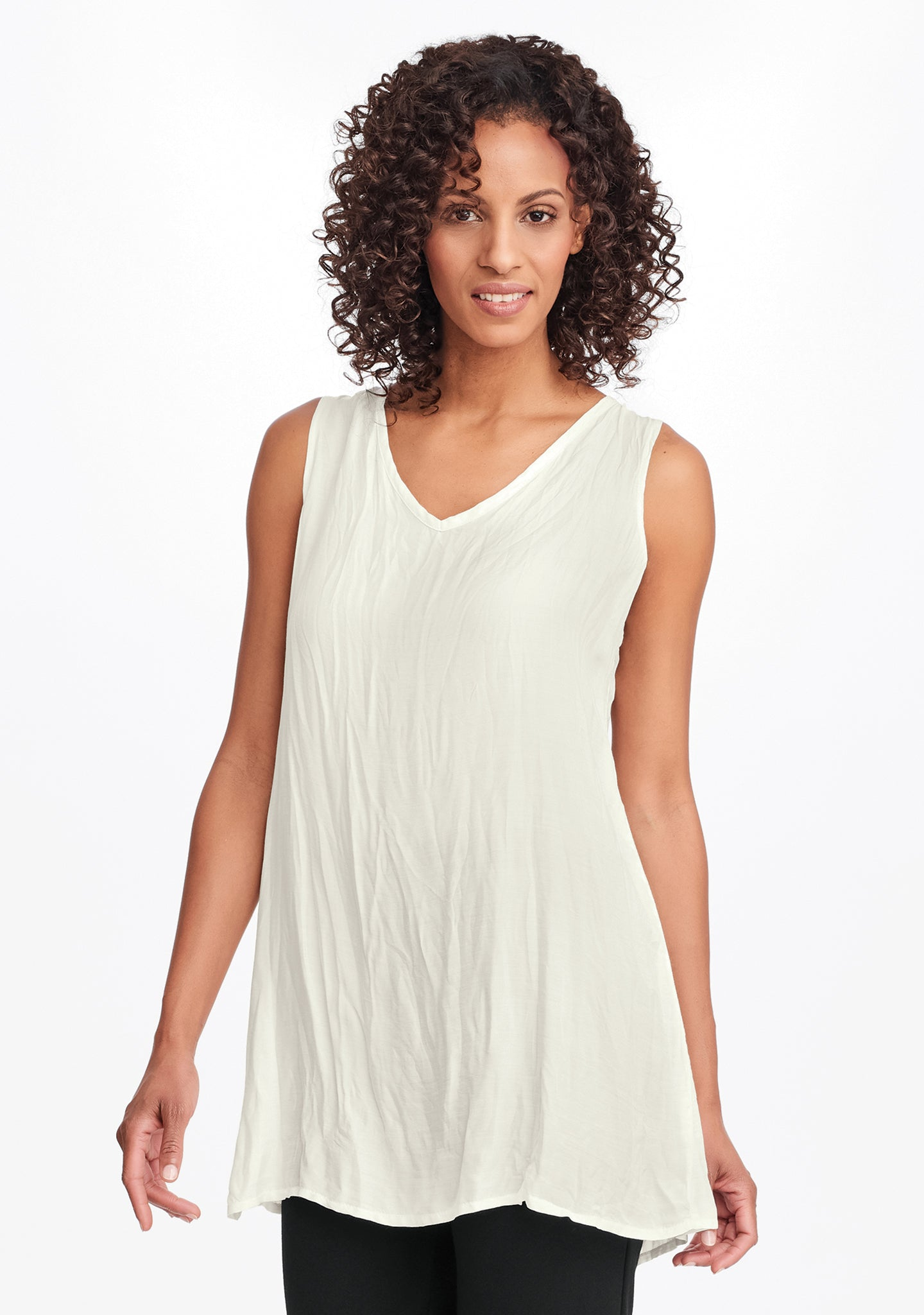 silky v-tunic white