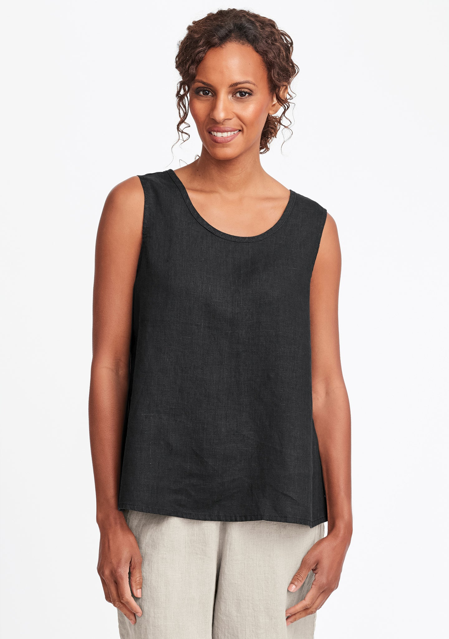 simple cami linen tank top black