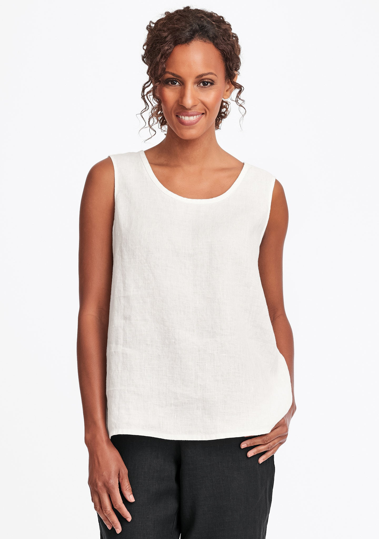 simple cami linen tank top white