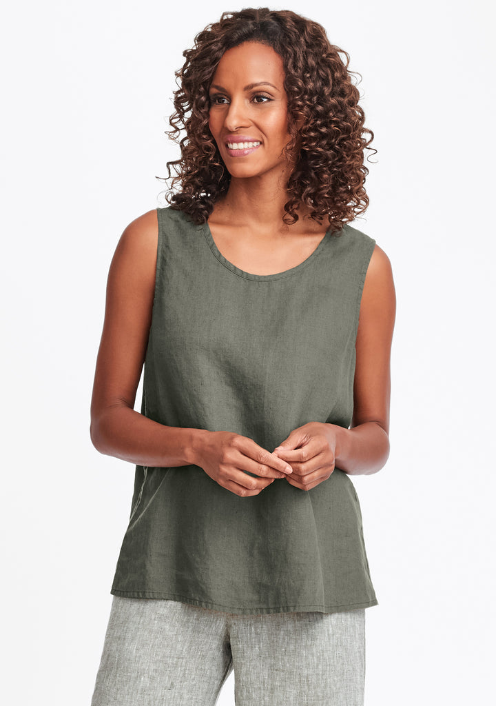 simple cami linen tank top green