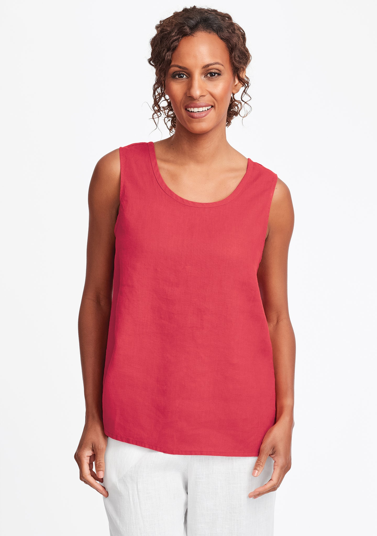 simple cami linen tank top red