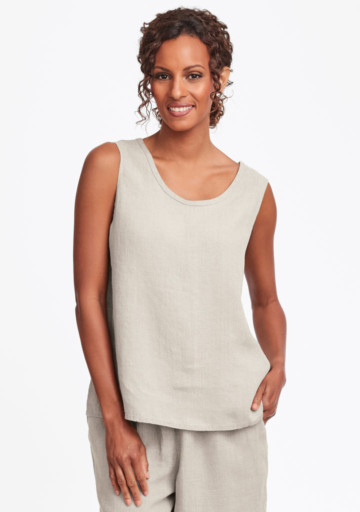 simple cami linen tank top natural