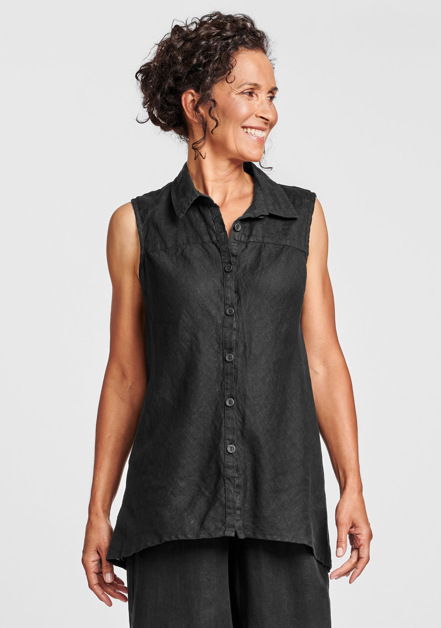 skyline blouse sleeveless linen blouse black