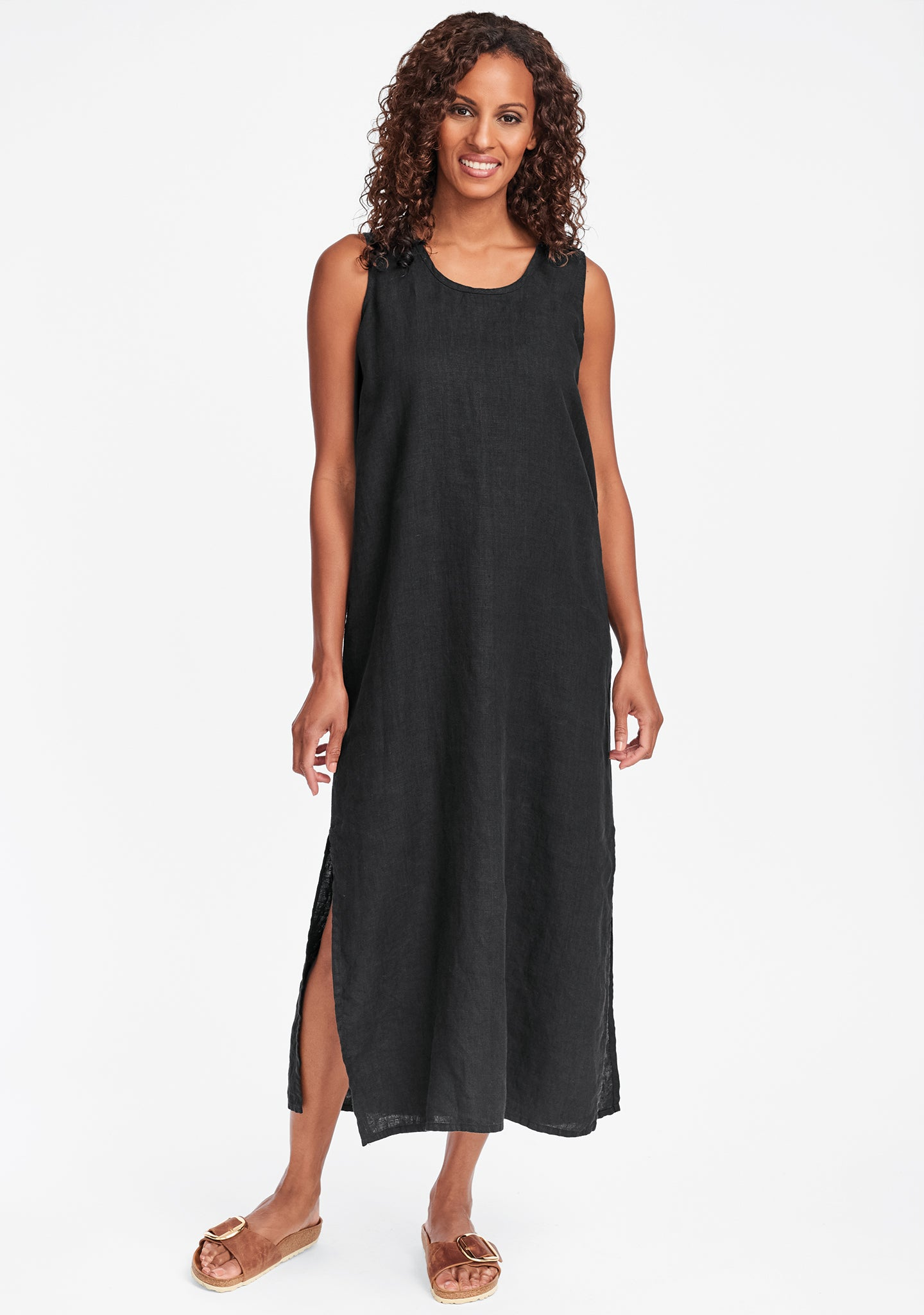 slipster linen maxi dress black