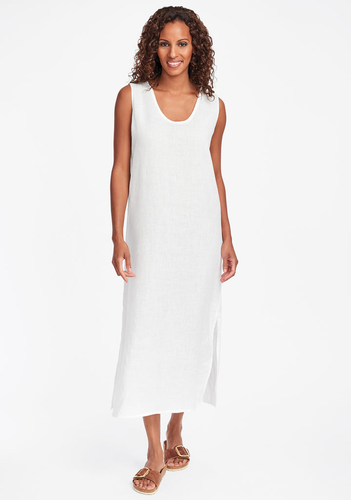 slipster linen maxi dress white