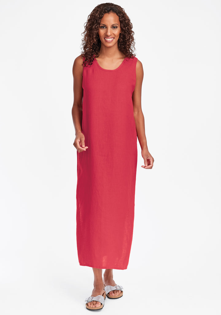 slipster linen maxi dress red