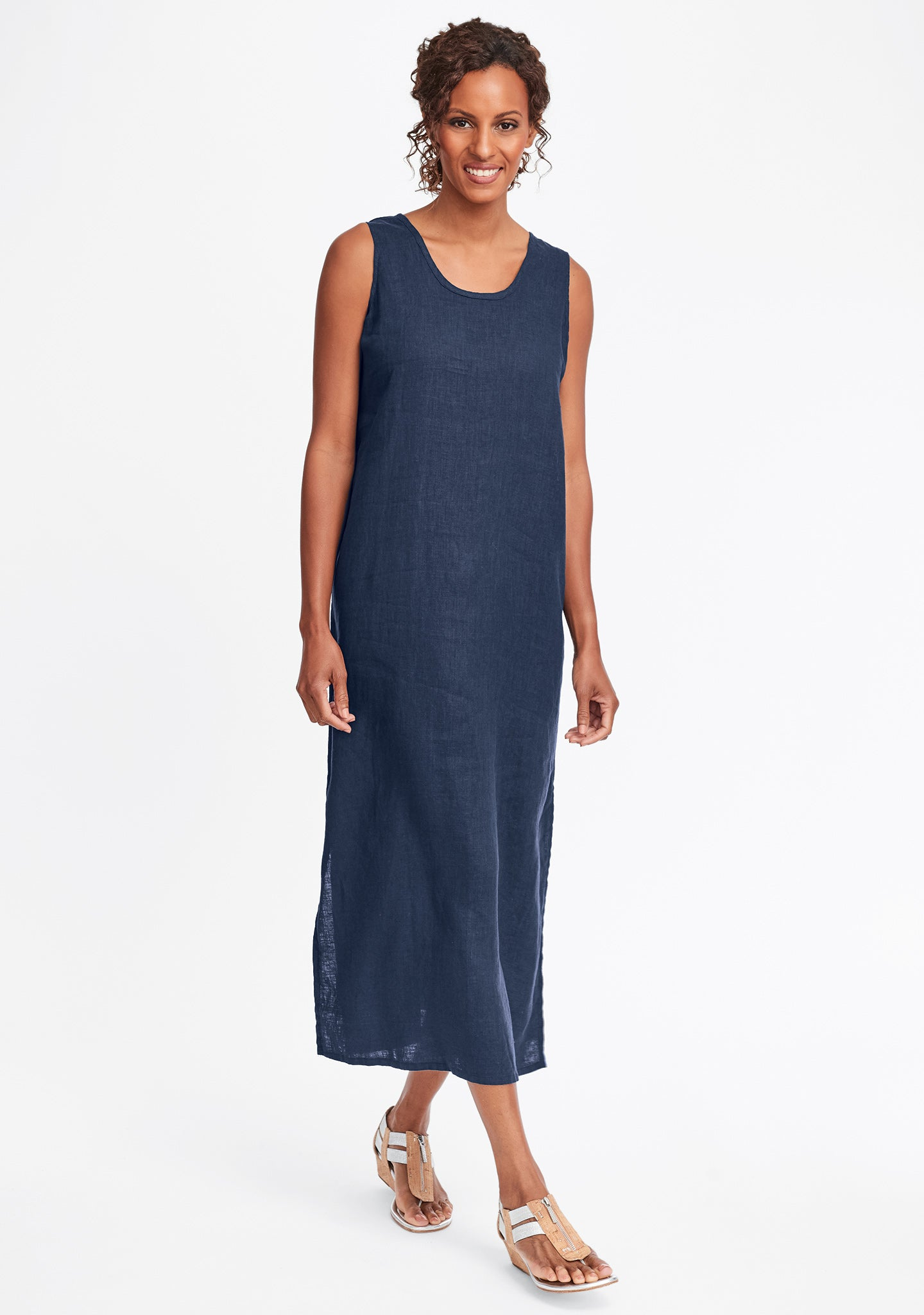 slipster linen maxi dress blue